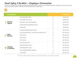 Food Safety Checklist Employee Orientation Drinking Ppt Powerpoint Presentation Portfolio Picture