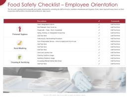 Food Safety Checklist Employee Orientation Ppt Powerpoint Presentation Infographics Guidelines