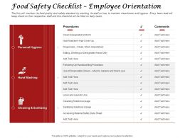 Food Safety Checklist Employee Orientation Sanitizing Ppt Powerpoint Presentation Styles Icon