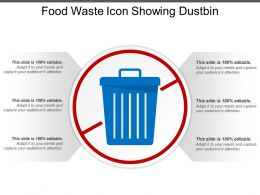 Food Waste Icon Showing Dustbin