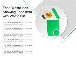 Food Waste Icon Showing Food Item With Waste Bin
