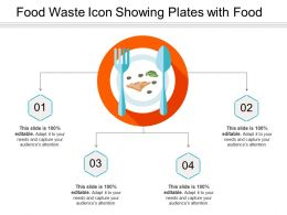 Food Waste Icon Showing Plates With Food