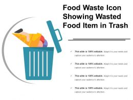 Food Waste Icon Showing Wasted Food Item In Trash