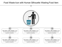 Food Waste Icon With Human Silhouette Wasting Food Item