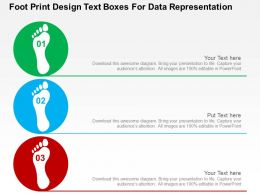 Foot Print Design Text Boxes For Data Representation Flat Powerpoint Design