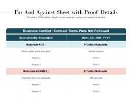 For And Against Sheet With Proof Details