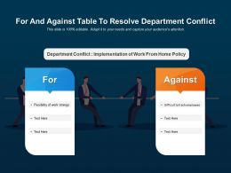 For And Against Table To Resolve Department Conflict
