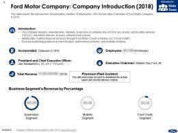 Ford Motor Company Company Introduction 2018