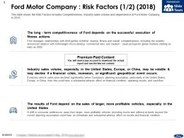 Ford Motor Company Risk Factors 2018