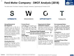 Ford Motor Company Swot Analysis 2018