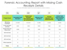Forensic Accounting Report With Missing Cash Receipts Details
