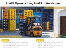 Forklift Operator Using Forklift At Warehouse
