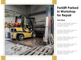 Forklift Parked In Workshop For Repair