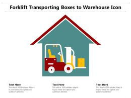 Forklift Transporting Boxes To Warehouse Icon