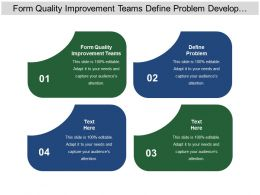 Form Quality Improvement Teams Define Problem Develop Performance Measures