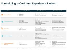 Formulating A Customer Experience Platform Ppt Powerpoint Presentation File Template