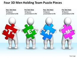 Four 3D Men Holding Team Puzzle Pieces Business Ppt Graphics Icons