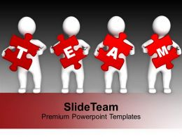 Four 3d Persons Holding Red Puzzle Pieces Powerpoint Templates Ppt Themes And Graphics 0113