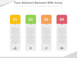Four Abstract Banners With Icons Flat Powerpoint Design