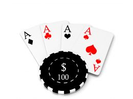 Four Aces Of Playing Cards With Hundred Dollar Poker Chip Stock Photo