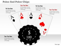 Four Aces With Poker Chip On White Background
