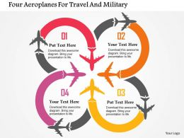 Four Aeroplanes For Travel And Military Flat Powerpoint Design