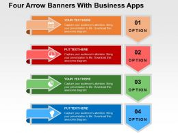 Four Arrow Banners With Business Apps Flat Powerpoint Design