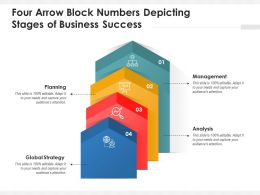 Four Arrow Block Numbers Depicting Stages Of Business Success