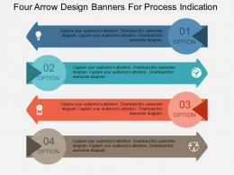 Four Arrow Design Banners For Process Indication Flat Powerpoint Design