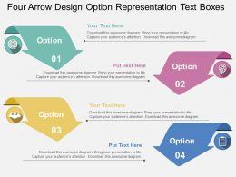 Four Arrow Design Option Representation Text Boxes Flat Powerpoint Design