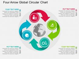 Four Arrow Global Circular Chart Flat Powerpoint Design