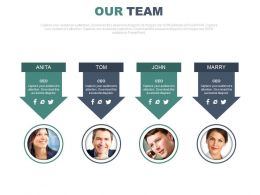 Four Arrow Tags With Business Profiles For Team Powerpoint Slides