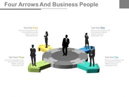 Four Arrows And Business Peoples For Business Opinion Generation Powerpoint Slides