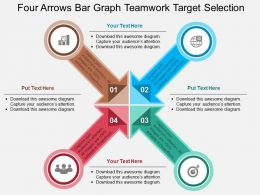 Four Arrows Bar Graph Teamwork Target Selection Flat Powerpoint Design