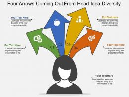 Four Arrows Coming Out From Head Idea Diversity Flat Powerpoint Design