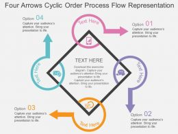 Four Arrows Cyclic Order Process Flow Representation Flat Powerpoint Design
