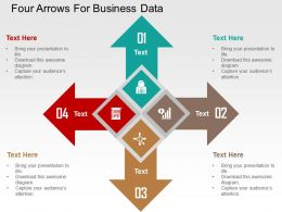 Four Arrows For Business Data Flat Powerpoint Design