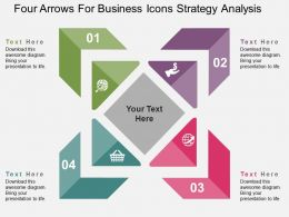 Four Arrows For Business Icons Strategy Analysis Flat Powerpoint Design