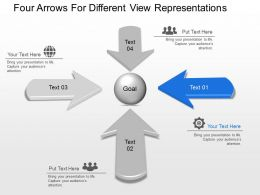 Four Arrows For Different View Representations Powerpoint Template Slide