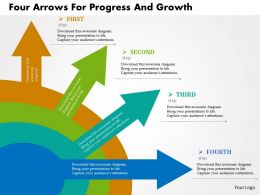 Four Arrows For Progress And Growth Flat Powerpoint Design
