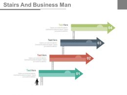 four_arrows_stairs_and_business_man_flat_powerpoint_design_Slide01