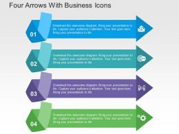 Four Arrows With Business Icons Flat Powerpoint Design