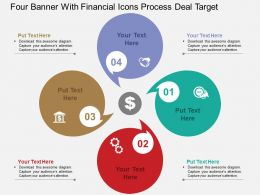 Four Banner With Financial Icons Process Deal Target Flat Powerpoint Design
