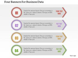 Four Banners For Business Data Flat Powerpoint Design