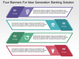 Four Banners For Idea Generation Banking Solution Flat Powerpoint Design