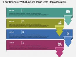 Four Banners With Business Icons Data Representation Flat Powerpoint Design