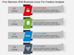 Four Banners With Business Icons For Creative Analysis Flat Powerpoint Design
