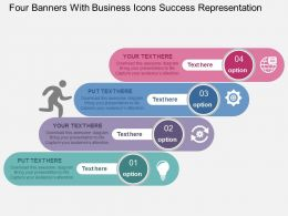 Four Banners With Business Icons Success Representation Flat Powerpoint Design