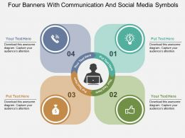Four Banners With Communication And Social Media Symbols Flat Powerpoint Design