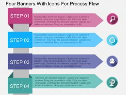 Four Banners With Icons For Process Flow Flat Powerpoint Design